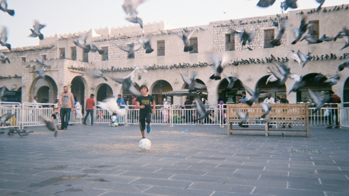 Mexican community leader in Qatar, Yezenia Navarro, snapped this photo of her son kicking a ball around Souq Waqif